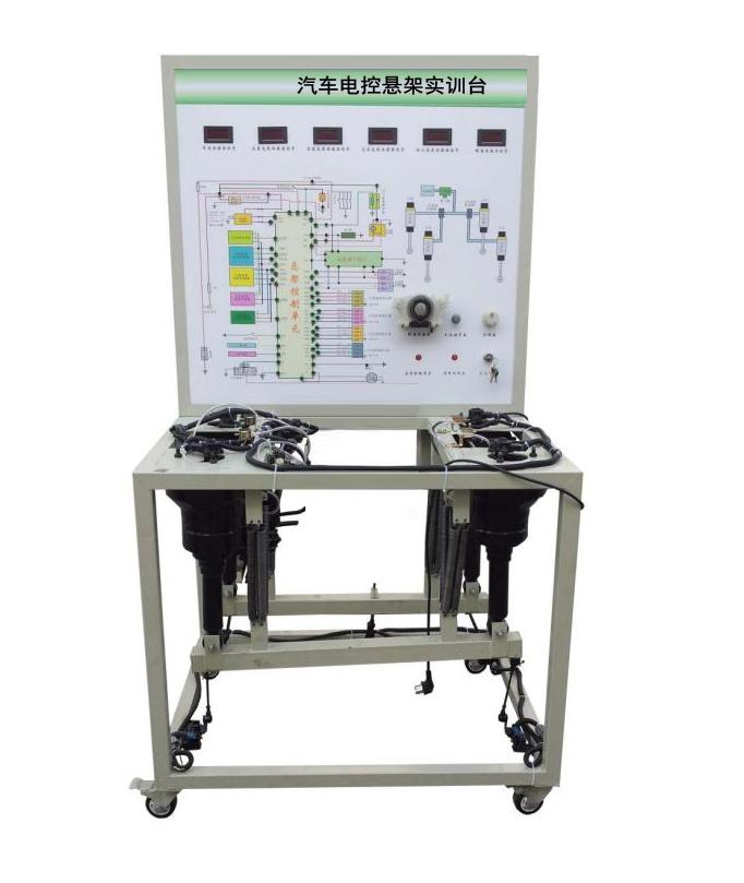 """一、产品简介 汽车电控悬架实训台采用翻新LS400汽车空气悬架系统为基础,充分展示汽车空气悬架的组成结构和工作过程。 汽车电控悬架实训台适用于学校对空气悬架的理论和维修实训的教学需要。 汽车电控悬架实训台满足汽车职业教育的""""五个对接十个衔接""""的教学需要。 二、功能特点 1."""