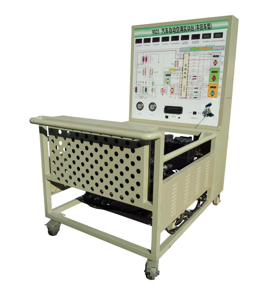 "ZY-9021 汽车自动空调实训台(丰田车型)  一、产品简介 汽车自动空调实训台(丰田车型)采用原汽车自动空调系统为基础,充分展示汽车自动空调系统组成结构和工作过程。 适用于中高等职业技术院校、普通教育类学院和培训机构对汽车自动空调系统理论和维修实训的教学需要。 本设备满足汽车职业教育的""五个对接十个衔接""的教学需要。 二、功能特点 1."